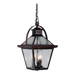 Three Light Architectural Bronze Hanging Lantern
