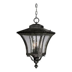 Tuscan Collection Hanging Lantern 3-Light Outdoor Black Coral Light Fixture