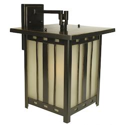One Light Oiled Bronze Amber Frost Glass Wall Lantern - 232757