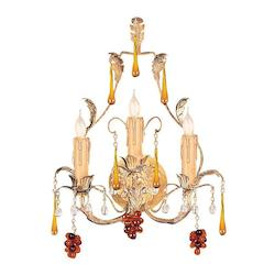 Three Light Gold Leaf Murano Crystal Glass Wall Light