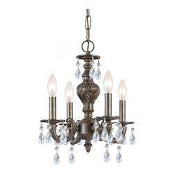 Four Light Venetian Bronze Swarovski Spectra Glass Up Chandelier - Crystorama 5024-VB-CL-SAQ