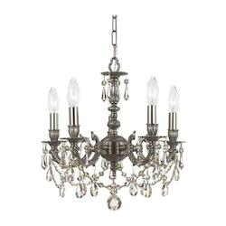 Five Light Pewter Swarovski Spectra Glass Up Chandelier - Crystorama 5505-PW-CL-SAQ