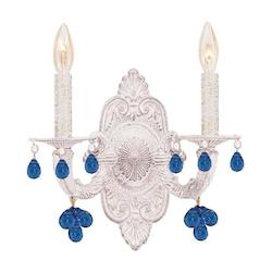 Two Light Antique White Wall Light - Crystorama 5200-AW-BLUE