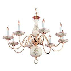 Eight Light Polished Brass Ceramic Shade Up Chandelier - Crystorama 4170-PB-R