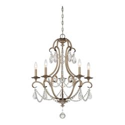 Argent Silver 5 Light 1 Tier Crystal Chandelier - 36