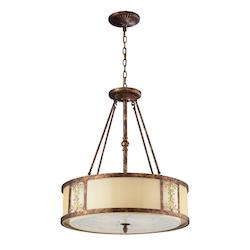 Four Light Spanish Bronze Drum Shade Pendant - ELK Lighting 11342/4