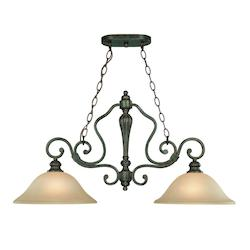 Two Light English Toffee Etched; Painted Glass Island Light - 233996