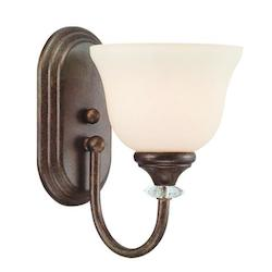 One Light Tortoise Crackle Creamy Etched Glass Bathroom Sconce - 233998