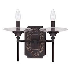 Two Light Aged Bronze W/Gold Antique Clear Glass Wall Light - 234034