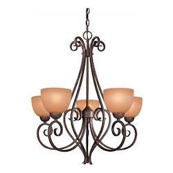 5 Light Chandelier in Golden Bronze Finish  - 234978
