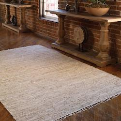 Beige Leather and Jute 5 x 8 Gunnison Leather Rug