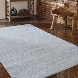Silver White Leather and Cotton 5 x 8 Everit Leather Rug