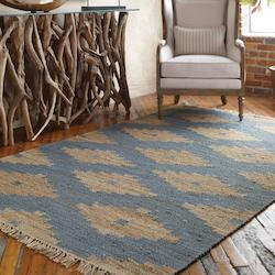 Natural Hemp and Denim Blue 5 x 8 Asmae Hand Woven Hemp Rug