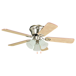 3 Light Indoor Hugger Ceiling Fan with Light Fitter and Brushed Nickel Finish - 248551