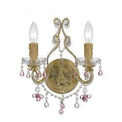 Paris Market 2 Light Rose Crystal Champagne Sconce - Crystorama 4522-CM-ROSA