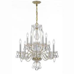 Traditional Crystal 10 Light Clear Swarovski Crystal Brass Chandelier V - Crystorama 5080-PB-CL-S