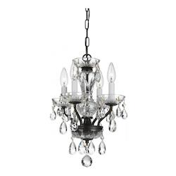 Traditional 4 Light Bronze Hand Cut Crystal Mini Chandelier