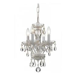 Traditional Crystal 4 Light White Mini Chandelier - Crystorama 5534-WW-CL-MWP