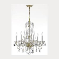 Traditional Crystal 6 Light Swarovski Crystal Brass Chandelier V - Crystorama 5086-PB-CL-S