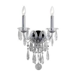 Barrymore 2 Light Chrome Sconce - Crystorama 9912-CH-CL-MWP