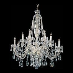 Traditional Crystal 12 Light Clear Spectra Crystal Polished Brass Chandelier III