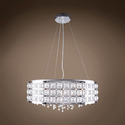5 Light Round Crystal Pendant Light in Chrome Finish with Clear Crystal - 249538
