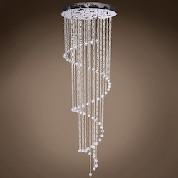 10 Light Pendant Chandelier Light in Chrome Finish with Crystal and Murano Beads - 249540