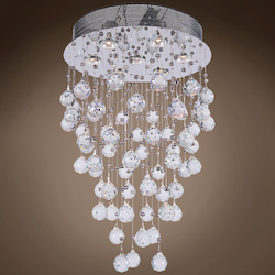 7 Light Pendant Chandelier Light in Chrome Finish with Crystal and Murano Beads - 249541
