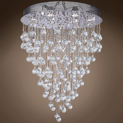 12 Light Pendant Chandelier Light in Chrome Finish with Crystal and Murano Beads - 249545
