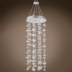 8 Light Bubbles Pendant Chandelier Light in Chrome Finish with Rainbow Glass - 249548