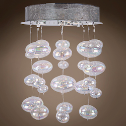 4 Light Bubbles Ceiling Mount Chandelier in Chrome Finish with Rainbow Glass - 249549
