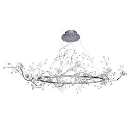 12 Light Oval Shaped Crystal Chandelier Light in Chrome Finish with Crystal - 249553