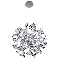 12 Light Crystal Pendant Chandelier Light in Chrome Finish with Crystal Accents - 249561
