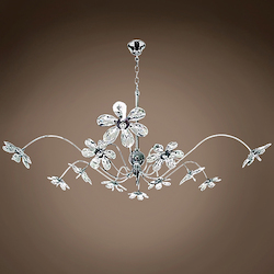 12 Light Crystal Pendant Chandelier Light in Chrome Finish with Crystal Accents - 249563