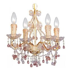 Paris Market 4 Light Rose Murano Crystal Champagne Mini Chandelier - Crystorama 4504-CM-ROSA