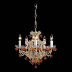 Six Light Polished Brass Murano Crystal Glass Up Chandelier