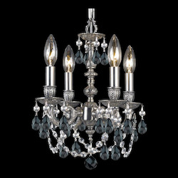 Four Light Pewter Hand Cut Crystal Glass Up Chandelier - Crystorama 5504-PW-BK-MWP