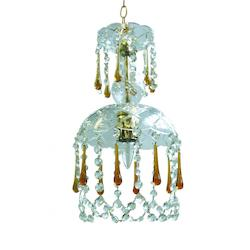 One Light Polished Brass Murano Crystal Glass Down Chandelier - Crystorama 4501-PB-AMBER