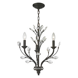 Crystal Branches 3 Light Chandelier In Burnt Bronze - 287009