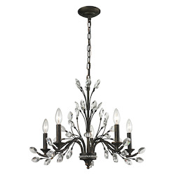 Crystal Branches 5 Light Chandelier In Burnt Bronze - 287010