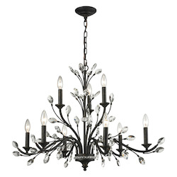 Crystal Branches 9 Light Chandelier In Burnt Bronze - 287011