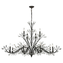 Crystal Branches 12 Light Chandelier In Burnt Bronze - 287012