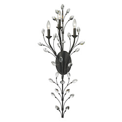 Crystal Branches 3 Light Sconce In Burnt Bronze - 287016