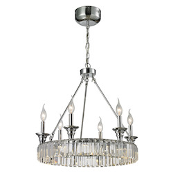 Manning 6+LED Light Chandelier In Polished Chrome - 287045