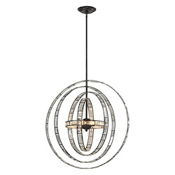 Crystal Orbs 6 Light Pendant In Oil Rubbed Bronze - 287131