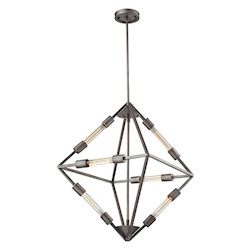 Laboratory 6 Light Chandelier In Weathered Zinc - 287263