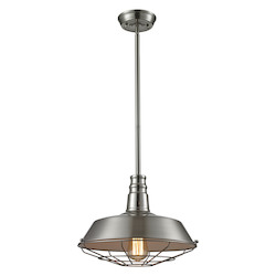 Warehouse Pendant 1 Light Pendant In Satin Nickel - 287335