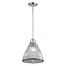 Halophane 1 Light Pendant In Polished Chrome - 287365