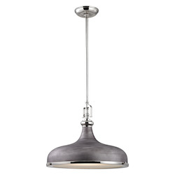 Rutherford 1 Light Pendant In Polished Nickel/ Weathered Zinc - 287410