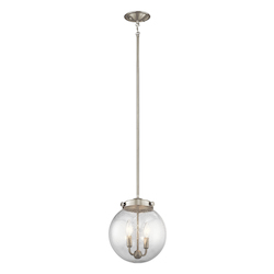 Brushed Nickel Holbrook Mini Pendant With Round Seedy Glass Shade